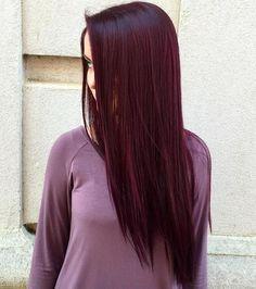 Long straight dark burgundy hair hair styles and color účesy. Deep Burgundy Hair Color, Red Violet Hair, Plum Hair, Hair Color Dark, Purple Hair, Dark Hair, Red Purple, Color Red, Dark Red Hair Burgundy