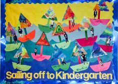 End of the year preschool bulletin board.  Cut around photographs of the children to put in the boats.  The sails are painted with watercolors.