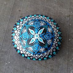 Large painted mandala stone dotted rock handpainted~meditation paperweight decoration handpainted natural spiritual gift hippy boho bohemian by RainbowSoulShop on Etsy