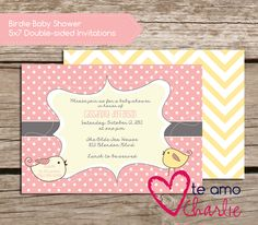Little Birdie Baby Shower Invitations #baby
