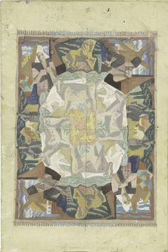 """Leo Gestel   Tapijtontwerp motief """"Hollland"""" (ontwerp op leporello), Leo Gestel, 1928   Schets van tapijt met concentrische kringen van mensen en dieren. In het midden vogels, daarbuiten koeien, dan paarden en boeren en boerinnen."""