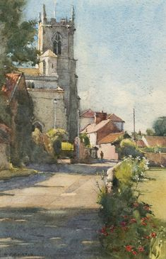 David Curtis, June Morning - Mattersey Church Watercolour: 10 x 7 Watercolor City, Watercolor Landscape Paintings, Watercolor Artists, Watercolor Illustration, Watercolor Portraits, Abstract Paintings, Oil Paintings, Watercolor Flowers, Urban Landscape