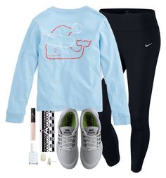 """""""once again, guys shirt. once again, I don't care."""" by elizabethannee ❤ liked on Polyvore featuring NIKE, NARS Cosmetics, Essie and Kendra Scott"""