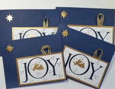 Christmas Cards in Navy and Gold for the ladies in my Bible Study. Here are 4 of the 8 I made using Joyful Nativity and Star of Light Stamp Sets, Ovals Thinlits on the inside for the sentiment. I used Night of Navy cardstock, and ink and gold foil sheets and gold embossing powder. I trimmed with remnants of gold ribbon from gift tags.