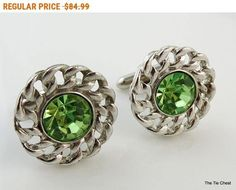 Excellent pair of cufflinks - great when you need a light green accent color! Vintage Swank Silver Tone  Cufflinks with a Large Green Stone | The Tie Chest