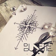 Compass geometric flower tattoo