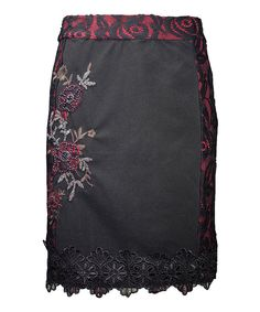 This Mismash Black & Red Lace Embellished Herneith Skirt by Mismash is perfect! #zulilyfinds