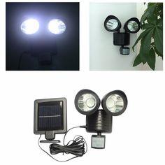 22 led solar powered led spotlight adjustable double head spotlights wall light garden lamp bright auto