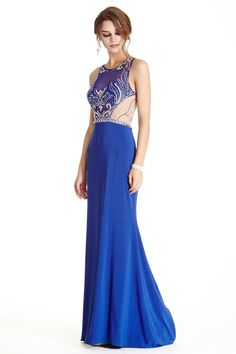 Sheath Shape Long Prom and Evening Dress has Sparkling Gemstones and Beading Adorned Sheer Bodice with Jewel Neckline and Zipper Closure, Floor Length Solid Color Skirt with Train Detail Completes the Style.