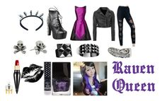 """""""Raven Queen Closet Cosplay"""" by thecrystalheart on Polyvore featuring Theia, Glamorous, Jeffrey Campbell, Funk Plus, King Baby Studio, Waterford, Clair Beauty, Butter London, Manic Panic and Christian Louboutin"""
