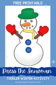 This printable color matching snowman is a fun prop to use during circle time, especially while reading the book Colors in the Cold. A fun way to work on color recognition skills! #toddlers #circletime #winter #props #colors #literacy #books #2yearolds #snowman #teaching2and3yearolds Preschool Color Activities, Circle Time Activities, Activities For 2 Year Olds, Preschool Literacy, Preschool At Home, Winter Activities, Toddler Preschool, Toddler Activities, Toddler Circle Time