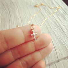 Dainty 14K Yellow Gold Diamond Cross Necklace