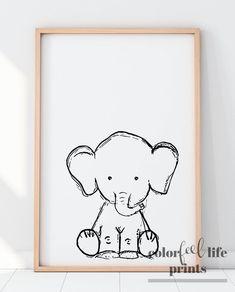 35 ideas baby boy themes elephant wall art for 2019 Elephant Themed Nursery, Elephant Wall Art, Baby Animal Nursery, Baby Nursery Neutral, Elephant Print, Neutral Nurseries, Elephant Party, Owl Nursery, Baby Girl Nursery Themes