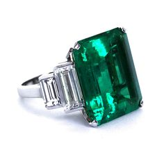 16.68 Carat Colombian Emerald Ring   From a unique collection of vintage engagement rings at http://www.1stdibs.com/jewelry/rings/engagement-rings/