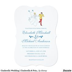 Cinderella Wedding Classic Card Cards Invitations and Prince