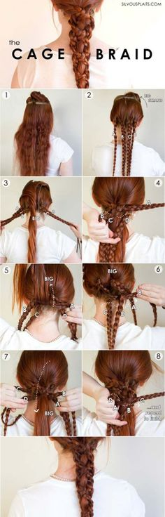 Best Hair Braiding Tutorials - Five Strand Cage Braid - Easy Step by Step Tutorials for Braids - How To Braid Fishtail, French Braids, Flower Crown, Side Braids, Cornrows, Updos - Cool Braided Hairstyles for Girls, Teens and Women - School, Day and Evening, Boho, Casual and Formal Looks http://diyprojectsforteens.com/hair-braiding-tutorials
