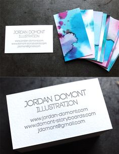Unique DIY Watercolour And Letterpress Printed Business Cards For An Illustrator