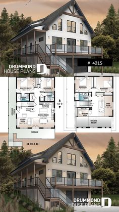 Rustic ski chalet drive under garage Mountain style house plan, 4 bedrooms, garage, wraparound balco A Frame House Plans, House Plan With Loft, Cabin House Plans, Mountain House Plans, Garage House Plans, Craftsman House Plans, Dream House Plans, Small House Plans, House Floor Plans