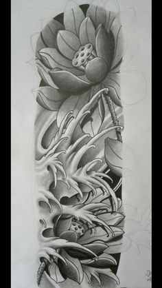 Pin de c&teck em tattos sleeve tattoos, flower tattoos e jap Japanese Wave Tattoos, Japanese Flower Tattoo, Japanese Tattoo Designs, Japanese Sleeve Tattoos, Japanese Flowers, Asian Tattoo Sleeve, Japan Tattoo Design, Lotus Tattoo Design, Mangas Tattoo
