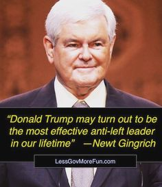 """Donald #Trump may turn out to be the most effective anti-left leader in our lifetime"" --Newt Gingrich #MAGA #hillaryclinton #dncproud #sorrynotsorry #sorry #YCOT"