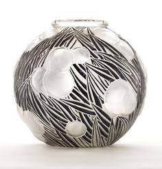 "R. LALIQUE. ""Oranges"" A Glass Vase with black enamel, Marcilhac no.973, designed 1926. Marks: molded R. LALIQUE."