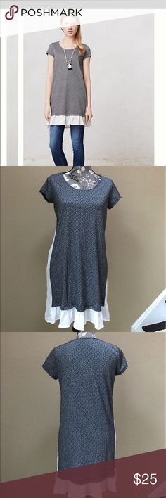 "Anthropologie Clu+Willoughby Dress Anthropologie Clu + Willoughby Fluttered Heather Tunic dress size medium. Excellent condition. 81% polyester and 19% rayon. Can be worn as a dress or with jeans and leggings.18"" from underarm  to underarm and 33"" long. Super cute! Anthropologie Dresses"