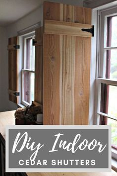 Today I am here to share how to build functional interior cedar shutters using inexpensive AND readily available hardware! Diy Kitchen, Kitchen Decor, Kitchen Ideas, Cool Diy Projects, Home Projects, Cedar Shutters, Cedar Boards, Laundry Room Inspiration, Diy Interior