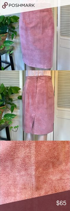 "Gorgeous Lord & Taylor Dusty Rose Suede Skirt Sz 8 Gorgeous Lord & Taylor Dusty Rose Suede Skirt Sz 8 - 28"" Waist, 21.5"" Length. 100% Silky Pig Suede. Professional Leather Clean Only. There is a very small mark as evidenced in photos. Lining is in need of repair inside waist. Beautiful luxury piece seeking new home💕 Please choose a free Tee-shirt when purchasing. Free shirts are marked as such in my closet 💐 Please don't be shy! Feel free to make a ridiculous offer! I won't be offended. I…"