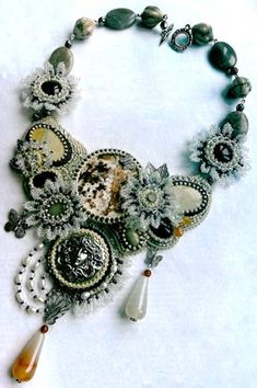 Bib-Style Necklace with Gemstone Beads and Cabochons and Seed Beads - Fire Mountain Gems and Beads