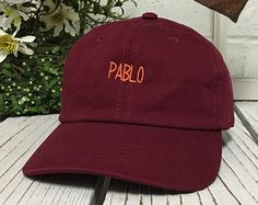 New Pablo Embroidery Baseball Cap Burgundy/Orange Thread Low Profile Curved Bill Dad Cap