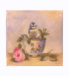 Bone china sevres, a baby blue bird roses by HelenFlont