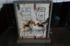 Vintage Vending Machines Vintage Postage Stamp Machine Metal 4 or 5 Cents Change Catcher by WyoJunktiquities on Etsy