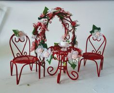 Fairy Garden Red Love Table and Chair Set Miniatures With Matching Arbor For Valentine's Day by FairylandCraftique on Etsy