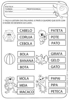 atividades de alfabetização de leitura para ler e colorir
