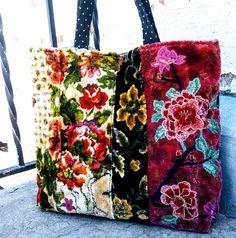 Velvet floral carpet tote bag with pretty applique