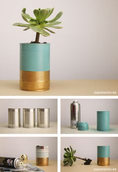 ✩ Check out this list of creative present ideas for bbq and grilling fans Recycle Cans, Diy Cans, Upcycled Crafts, Tin Can Crafts, Diy And Crafts, Ideias Diy, Paint Cans, Diy For Kids, Flower Pots