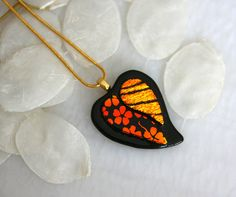 Heart Dichroic Fused Glass Necklace Jewelry Pendant by GetGlassy