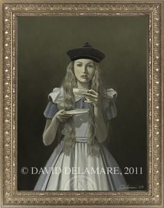 """""""Alice Portrait"""" (Alice in Wonderland painting by David Delamare)    Information and products available at www.daviddelamare.com/alice.html      Artwork © David Delamare.   Product design © Wendy Ice.  Alteration of artwork strictly prohibited by law.  Artist authorizes """"repin"""" of this image only if this caption is unchanged.  Please use comments box (not caption) for any personal notes."""