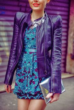 Sequins detailed blue and purple dress with croco leather coat