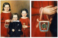 This painting of the Wykes children was done in 1852 by the Rev. David Bulle of Sidney, Ohio. The young girl on the left has an Iroquois bea...