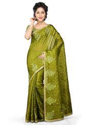 Mehendi Green Pure Tussar Silk Banarasi Saree With Blouse
