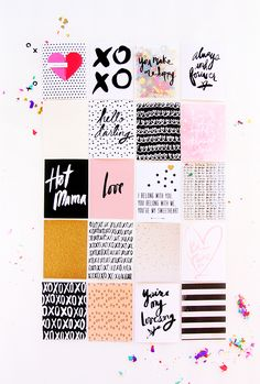 All about the love scrapbook project paper kit now in the shop via inspirelovely.etsy.com hearts + glitter + gold foil + handlettered details XOXO