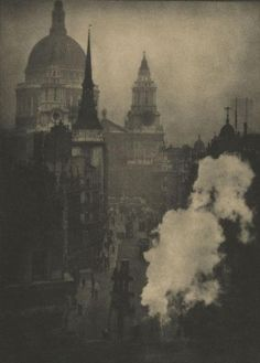 """Alvin Langdon Coburn. """"St. Paul's from Ludgate Circus. 1905, hand pulled photogravure  15 1/8"""" x 11 1/4"""""""