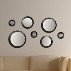 "Features:  - Set includes of 7 mirrors  one 9"", three 6"", and three 3"" mirrors.  -Clean design and easy to hang.  -Decorative mirror.  -Create's a timeless wall display adding an element of artistic d"