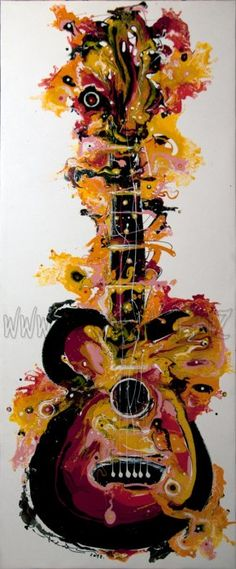 Guitar by Sunthorn Phrachannok  Price $110  Description: 50x120cm paiting on white canvas