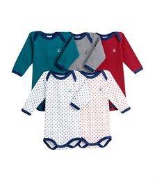 Lot de 5 bodies bébé garçon manches longues en coton rayé/étoilé - Petit Bateau