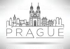 Minimal Vector Prague City Linear Skyline with Typographic Desig royalty-free stock vector art
