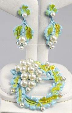 Outstanding Baby Blue and Green Enamel Set with Faux Pearls Signed FLORENZA at Amazing Adornments