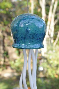 Ceramic Jellyfish wind chime, Beautiful blue green Jellyfish, OOAK hand made wind chime