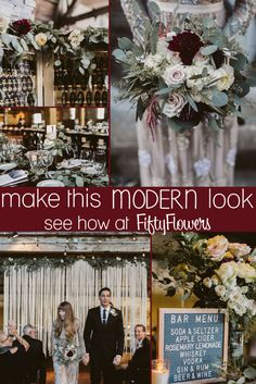 Rich and bold, this look is perfect for a Modern Wedding! See how to Make this Look at FiftyFlowers.com!